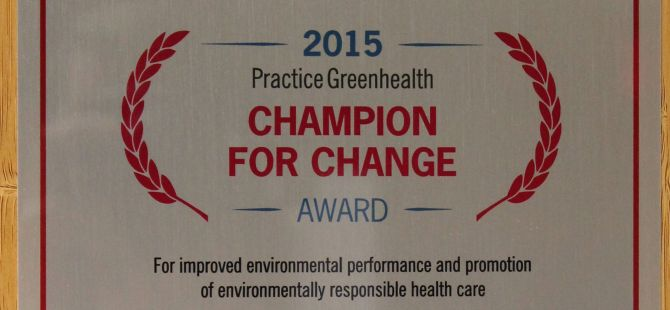 Practice Greenhealth Names G/BA a 2015 Champion for Change